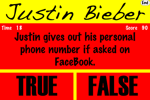 Screenshot True or False – Justin Bieber